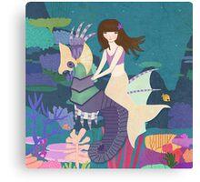 Tara and her Seahorse Canvas Print