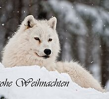 Arctic Wolf Christmas Card German 1 by WolvesOnly