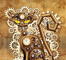 Steampunk Cat Vintage Style by BluedarkArt