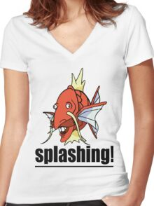 SPLASHING! Women's Fitted V-Neck T-Shirt