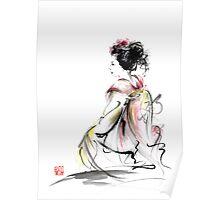 Geisha Japanese woman young girl in Tokyo kimono fabric design original Japan painting art Poster