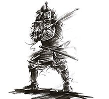 Samurai sword bushido katana martial arts sumi-e original ink armor yoroi painting artwork by Mariusz Szmerdt
