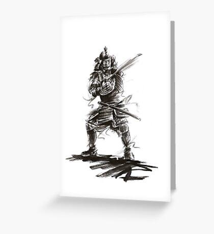 Samurai sword bushido katana martial arts sumi-e original ink armor yoroi painting artwork Greeting Card