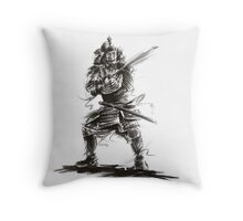 Samurai sword bushido katana martial arts sumi-e original ink armor yoroi painting artwork Throw Pillow