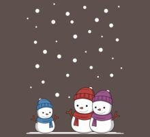 Cute Snowman family One Piece - Short Sleeve
