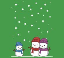 Cute Snowman family Kids Tee
