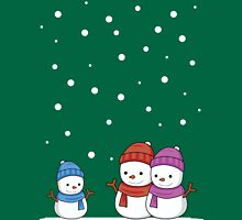 Cute Snowman family Womens Fitted T-Shirt