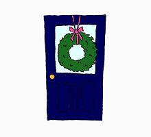 Christmas Wreath on Door (Navy) Unisex T-Shirt