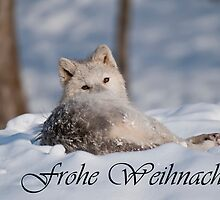 Arctic Wolf Christmas Card German 3 by WolvesOnly
