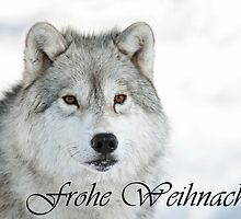 Arctic Wolf Christmas Card German 5 by WolvesOnly