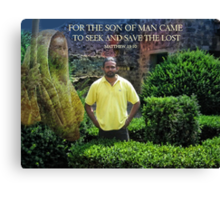 ❤ † FOR THE SON OF MAN CAME-BIBLICAL-PICTURE CARD ❤ † Canvas Print