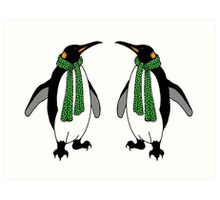 Cute Penguin Couple with Polka Dotted Scarves Art Print