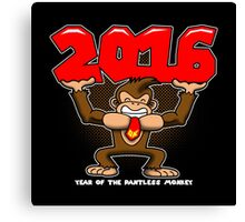 2016, Year of the Pantless Monkey  Canvas Print