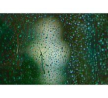 Rainy Window overlooking sculpture. Photographic Print