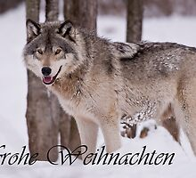 Timber Wolf Christmas Card German 3 by WolvesOnly