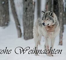 Timber Wolf Christmas Card German 4 by WolvesOnly