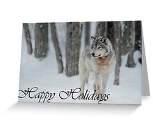 Timber Wolf Holiday Card 4 Greeting Card