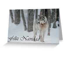 Timber Wolf Christmas Card Spanish 4 Greeting Card