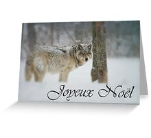 Timber Wolf Christmas Card French 5 Greeting Card