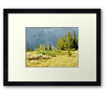 Oil painting style landscape photography. Mountain hill under storming sky at Grand Teton National Park. Framed Print