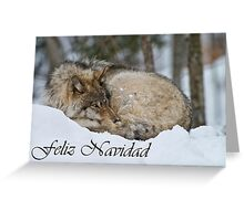 Timber Wolf Christmas Card Spanish 7 Greeting Card