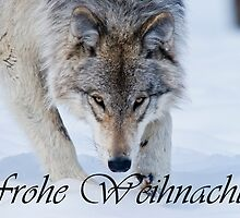 Timber Wolf Christmas Card German 12 by WolvesOnly