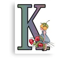 Initial K, Alphabet Letter, Girl with Poppies, Color Pencil Art Canvas Print