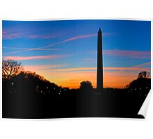 Washington Monument Sunset Silhouette Poster