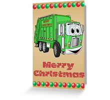 Christmas Card Garbage Truck Cartoon Greeting Card