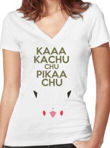 Keep Calm Pikachu Women's Fitted V-Neck T-Shirt