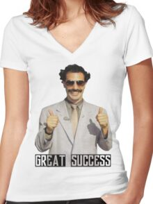 "Borat ""Great Success"" Women's Fitted V-Neck T-Shirt"