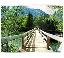 The Wood bridge at Grand Teton National Park. Oil painting style Landscape Photography. Poster