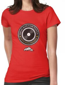 Real DJs Use Vinyl (+ DJ Welly Logo) Womens Fitted T-Shirt