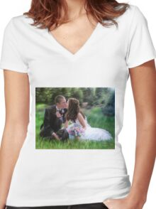 Smith Wedding Portrait Women's Fitted V-Neck T-Shirt