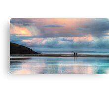 Walking on Amroth beach at sunset Canvas Print