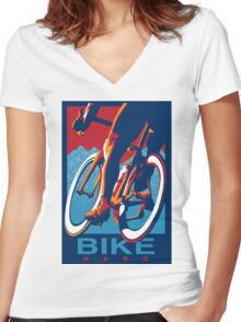 Retro styled motivational cycling poster: Bike Hard Women's Fitted V-Neck T-Shirt