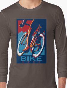 Retro styled motivational cycling poster: Bike Hard Long Sleeve T-Shirt