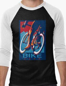 Retro styled motivational cycling poster: Bike Hard Men's Baseball ¾ T-Shirt