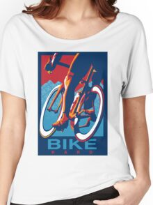 Retro styled motivational cycling poster: Bike Hard Women's Relaxed Fit T-Shirt