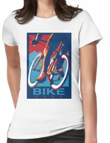 Retro styled motivational cycling poster: Bike Hard Womens Fitted T-Shirt