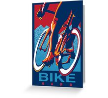 Retro styled motivational cycling poster: Bike Hard Greeting Card