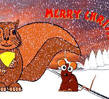 A Squirrel and Mouse Merry Christmas card by Dennis Melling