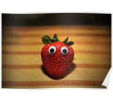 Googly-Eyed Strawberry Poster