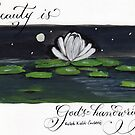 Beauty is God's Handwriting Emerson quote water lily painting  by Melissa Goza