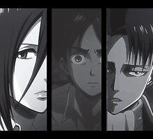 Levi, Eren, Mikasa by HellFury