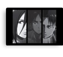 Levi, Eren, Mikasa Canvas Print