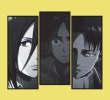 Levi, Eren, Mikasa Kids Tee