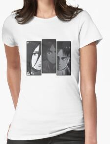Levi, Eren, Mikasa Womens Fitted T-Shirt