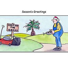 Gardener christmas card, season's greetings, lawn care cartoon  by Sagar Shirguppi