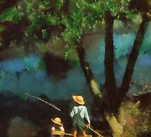 Boys fishing in a bayou by Kai Saarto